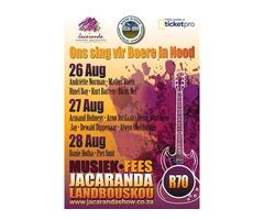 Jacaranda Musiek Fees vir Boere in Nood 24-28 Aug