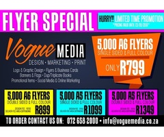 5,000 A6 Single Sided Full Colour Gloss Flyers R799