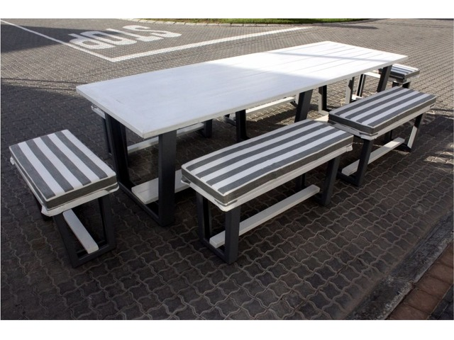 Full Patio Set Modern Design Seats Cushions Incl - Picnic table seats 12
