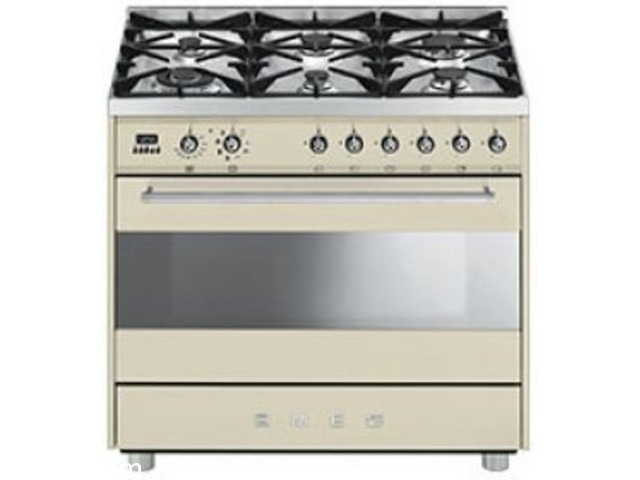 BUY SMEG 90CM 5 BURNER CREAM STOVE - SSA91MAP9